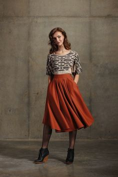 Pendleton Portland Collection Semicircle Skirt in Copper Worsted
