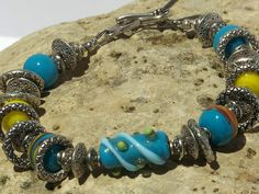 OOAK BLUE & YELLOW Handmade  Bracelet by blingo10 on Etsy