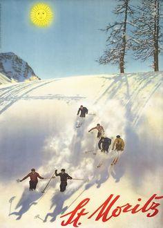 St. Moritz (six skiers) by Artist Unknown | Shop original vintage posters online: www.internationalposter.com