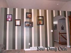 Sew Dang Cute Crafts: How to Paint a Striped Wall Feng Shui Colores, Cute Crafts, Diy Crafts, Striped Walls, Room Paint, Diy Painting, Decorating Tips, Home Improvement, Sweet Home