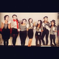 Mimes: Silence is golden with this mime group costume.  Source: Instagram user msmarymac