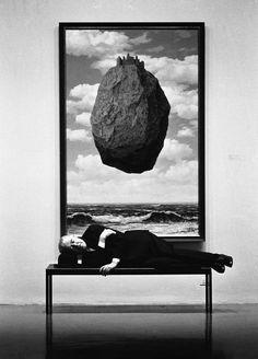 René Magritte Asleep on Bench. MOMA. New York (1963). BySteve Schapiro