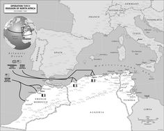 Operation Torch Map, successful Allied (US & UK) invasion of Viche-occupied North Africa during