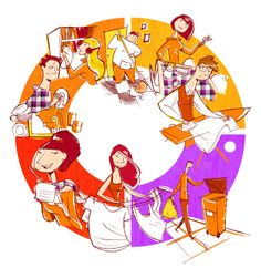 Las tareas domésticas + Identificar personas: ¿qué hace quién?. Por ejemplo: El chico alto del jersey naranja saca la basura. [Ilustrador: Jesús Escudero]