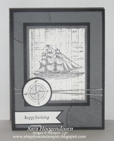 """The Open Sea--    Stamp Sets: The Open Sea & Teeny Tiny Wishes  Card Stock: Basic Black, Basic Gray & Whisper White  Classic Stampin' Pad: Basic Black  StazOn: Black  Punches: 1 1/4"""" Cirlce & 1 3/8"""" Circle  Bakers Twine: White  Sponges"""