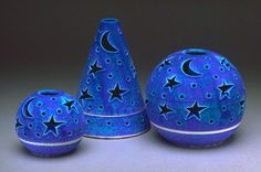 Star Moon whimsical sky Blue Mother's Day Decor Velvet Purple Candileria Handmade Pottery Romantic Wedding Favor Candle Holder $32