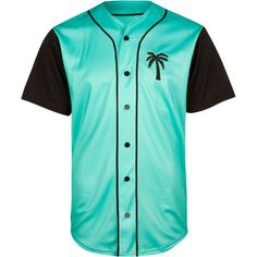 BLVD SUPPLY Trees Baseball Jersey ($76) ❤ liked on Polyvore featuring men's fashion, men's clothing, shirts, tops, teal blue and baseball jerseys