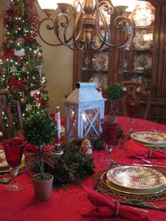 Plaid Christmas tablescape using Pier 1 Natural Flower Placemats