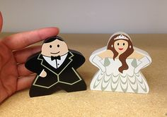 Giant Bride and Groom Character Meeple Set (3 inches tall)