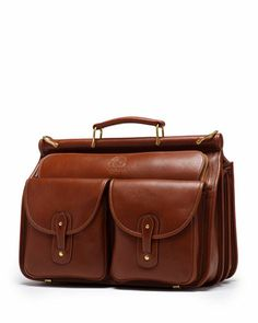 Garrison Leather Gusset Briefcase, Vintage Chestnut by Ghurka at Neiman Marcus.