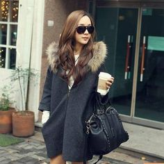 Hooded Cloak Coat Clothing For Pregnant Women Woolen Pregnant Autumn Winter Maternity Coats Big Fur Collar Windbreaker