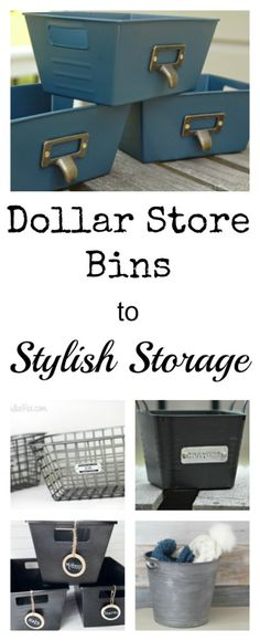 Dollar Store Bins to Stylish Storage with just a little paint.