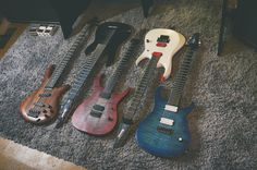 #RigCheck feat Milian Steffen guitarticle.com  Left to right: Ibanez SR1305 bass, Ibanez RGA8, Markline 6-string, Ibanez RGD2120z, Carvin DC700