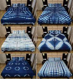 Indigo Tie Dye Bedding Set Handmade Shibori Cotton Throw Indian Queen Bedspreads | eBay