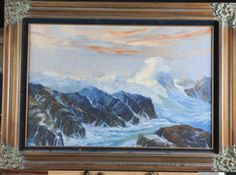 OIL ON CANVAS OF OCEAN SCENE WITH VERY ORNATE FRAME, UNKNOWN ARTIST, 44 IN. X 32 IN.