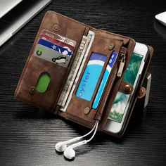 CaseMe Safari 2016 Leather Purse//Wallet With Magnetic Phone Case For IPhone