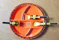 construction plate and utensils for kids