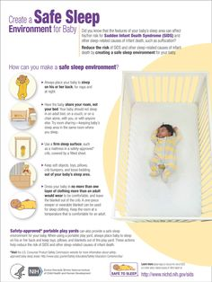 Did you know that the features of your baby's sleep area can affect his/her risk for Sudden Infant Death Syndrome (SIDS) and other sleep-related causes of infant death, such as suffocation?