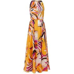Emilio Pucci Chain Neck Printed Maxi Dress (18 925 SEK) ❤ liked on Polyvore featuring dresses, chain dress, emilio pucci dress, emilio pucci, maxi length dresses and maxi dress