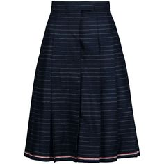 Thom Browne Pleated striped wool-twill skirt ($450) ❤ liked on Polyvore featuring skirts, midnight blue, blue wool skirt, wool pleated skirt, blue stripe skirt, stripe skirt and blue skirts