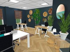 Our draft one renders for The Social Lamb offices.  . Can you spot our custom made clock? We have many others available on our online shop @ www.kbinteriors.co.za/online-shop/. Ikat, Offices, Custom Made, Lamb, Ivory, Clock, Table, Shop, Furniture