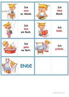Games in German lessons: Domino – the daily routine - Kinderspiele Study German, Learn German, Learn French, German Grammar, German Words, Adjectives For Kids, Deutsch Language, Kindergarten Portfolio, Germany Language
