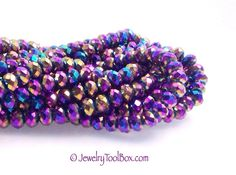 Crystal Rondelle Metallic Purple Peacock Beads, 6x8mm, Faceted, 50 Beads Strand  #1002
