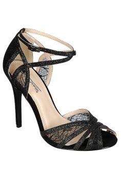 Anne Michelle Rapture-35 Heels in Black Glitter