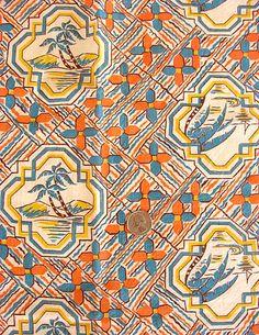 Vintage 1940's Feedsack Cotton Fabric, Palm Trees on Beach, South Seas, Teal Orange Yellow