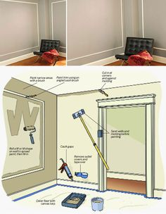 PAINTING | TIPS :: How to EXPERTLY Paint a Room in a Weekend...from #ThisOldHouse :: A full step by step tutorial that includes photos & skips the need for taping off every corner or backtracking w/ the touch-up brush like an amateur. Staying organized & methodical is the approach here. **Note: Wall color: Clarksville Gray (HC-102) in eggshell & Trim in Abingdon Putty (HC-99 in satin--both from Benjamin Moore.