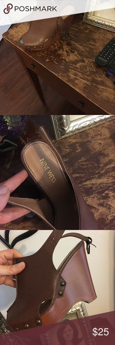 Nine West wedges Brand new nine west brown leather wedges Nine West Shoes Wedges