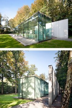 Villa Roces- An Elegant and Simple Glass House Covered by Tree Reflections Govaert & Vanhoutte Architecten-Bruges-Belgium