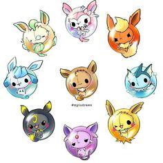 Cute Animal Drawings, Kawaii Drawings, Cute Drawings, Cute Pokemon Wallpaper, Kawaii Wallpaper, Evolution Pokemon, Pokemon Breeds, Cute Pokemon Pictures, Pokemon Eeveelutions