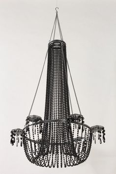 Black Beaded 6 Arm Candle Chandelier