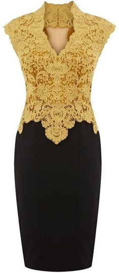Karen Millen Beautiful Cotton Lace Pencil Dress ----> I absolutely adore the design of this dress; my only complaint is the yellow colour. I think blue or maybe purple would be great. Karen Millen, Jw Mode, Mode Glamour, Mode Outfits, Cotton Lace, Pencil Dress, Yellow Dress, Yellow Lace, Burgundy Dress