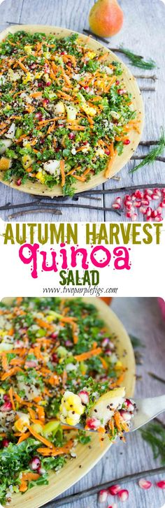 This is a refreshing and vibrant Autumn Harvest Quinoa Salad with kale, pomegranate, pear, carrots and corn. 10 mins and this delicious salad is all yours! www.twopurplefigs.com