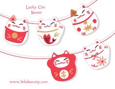 Printable Lucky Cats Banner PDF by littledear on Etsy, $5.00