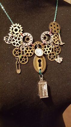 "Steampunk Necklace ""Who?"" $45 buy or trade"