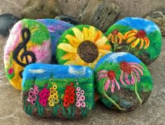 Alaiyna B. Bath and Body: Waiting for Spring...... New floral and music themed felted soaps.