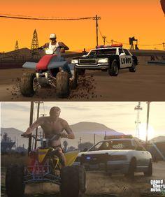 Screenshot Comparison: GTA San Andreas vs GTA V - GTA 5 Cheats