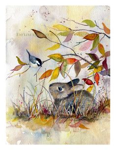 Autumn Whispers Bunny with Chickadee by BrianPayneArt on Etsy, $25.00