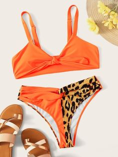 a404969935e27 Knot Front Top With Leopard Twist Panty Bikini Set Best swimwear and bikinis  to buy this