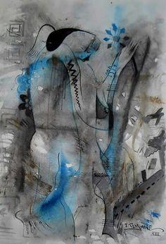 Passeio de Namorados . Pintura de joao timane. Watercolor Aguarela sobre cartolina African artist.