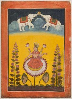 Maha-Laksmi on a lotus with lustrating elephants Indian, Pahari, Late 18th century Basohli, Punjab Hills, Northern India