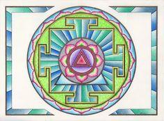 Een Kali Yantra Mandala. Deze vorm draagt de energie in zich om te helpen oude patronen te doorbreken en open te staan voor nieuwe dingen. Mandala Atelier: WELKOM. http://wittewaterlelie.blogspot.nl/