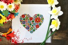 Cross stitch pattern oriental embroidery heart with flowers