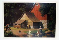 Vintage Paul Detlefsen Memories Barn Farm Scene 42 x 29 L...
