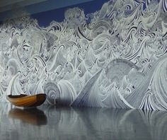 Massive Mural of Waves || Drawn Entirely with a Silver Pen by São Paulo-based artist Sandra Cinto. Click image for more