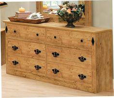 "Dakota Assembled 62"" Pre-Finished Knotty Pine 6-Drawer Dresser at Menards"