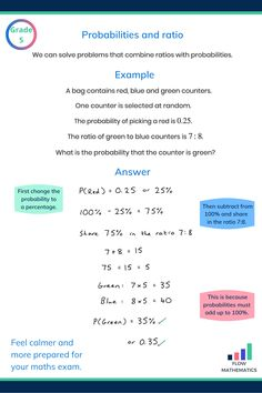 Probabilities and ratio Teas Test Study Guide, Ged Study Guide, Year 7 Maths, Math Tutorials, Maths Exam, Math Charts, Math Notes, Math Measurement, Math Formulas